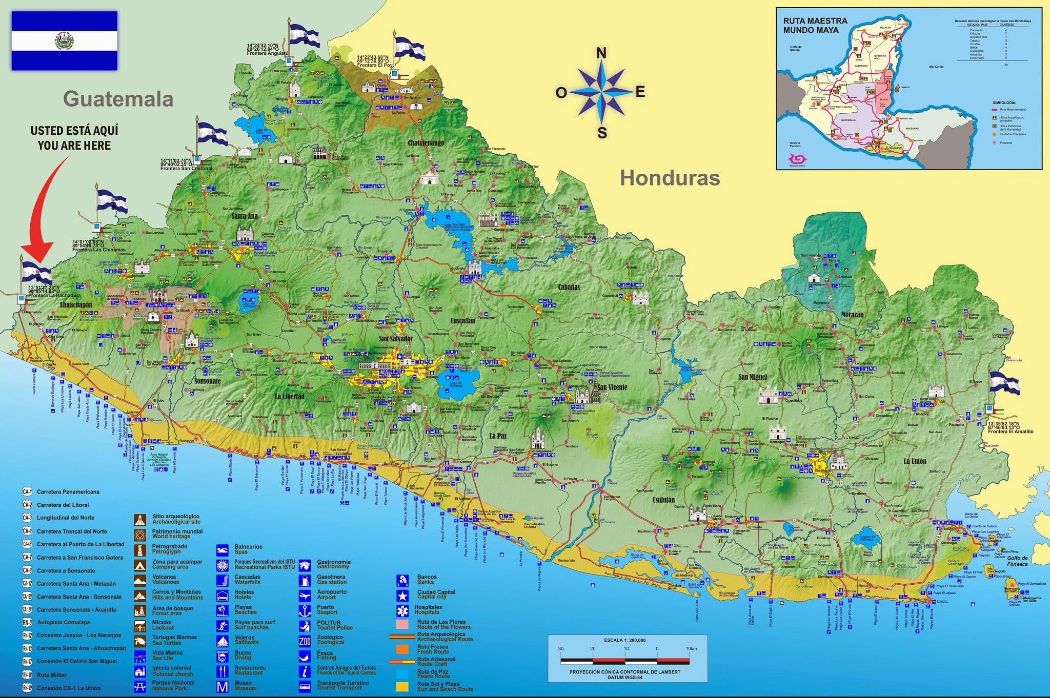 Mapa de El Salvador, Distribución Geografica de El Salvador